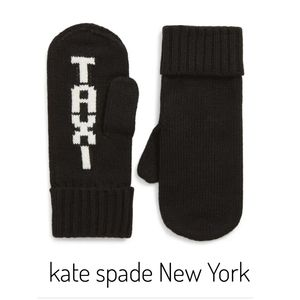 kate spade New York Black TAXI Mittens New W/Tags